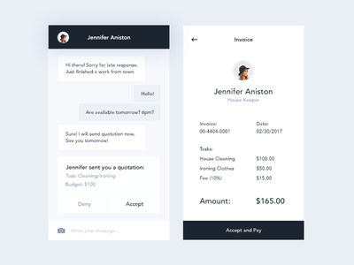 Chat and Invoice (Job Listing App) typography iphone ios ux ui mobile app job listing job bill invoice messaging chat