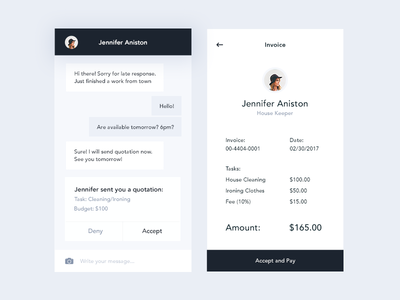 Chat and Invoice (Job Listing App)
