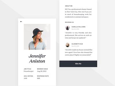 Profile Screen (Job Listing) simple typography clean app mobile ui ux iphone ios jobs job listing profile