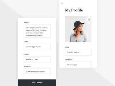 Edit Profile simple typography clean app mobile ui ux iphone ios jobs job listing profile