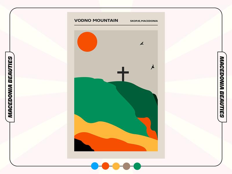 VODNO (Macedonia Beauties) beauties macedonian minimalistic minimal illustration collection graphicdesign poster design poster art poster design macedonia mountain vodno