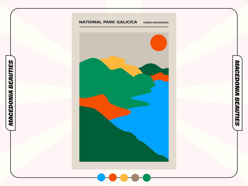NATIONAL PARK GALICICA (Macedonia Beauties) galicica nationalpark mountain minimalistic minimal macedonian macedonia collection beauties illustration graphicdesign poster design poster art poster design