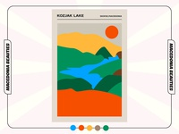 KOZJAK LAKE (Macedonia Beauties) colorful minimal nature illustration natural nature collection macedonian macedonia challenge illustration graphicdesign poster design poster art poster design