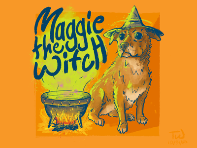 Maggie the Witch 2020 illustration procreate halloween witch dog illustration dog