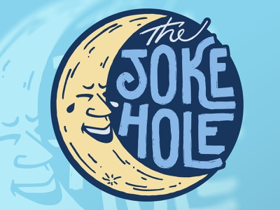 The Joke Hole typography 2021 design vector lol moon comedy club branding logo ipad pro illustration procreate