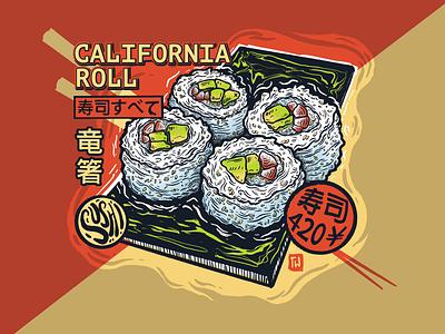 Cali Rollin' printmaking silkscreen print screen print 420 sushi design procreate ipad pro illustration