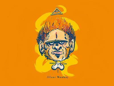 Illumi Monkay all seeing triangle orange monkey drawing procreate illustration