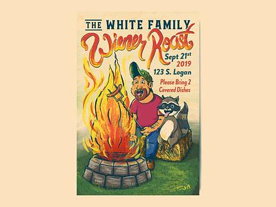 The White Family Wiener Roast 2019 drawing procreate 2019 annual fun bonfire weenies raccoon wiener roast illustration