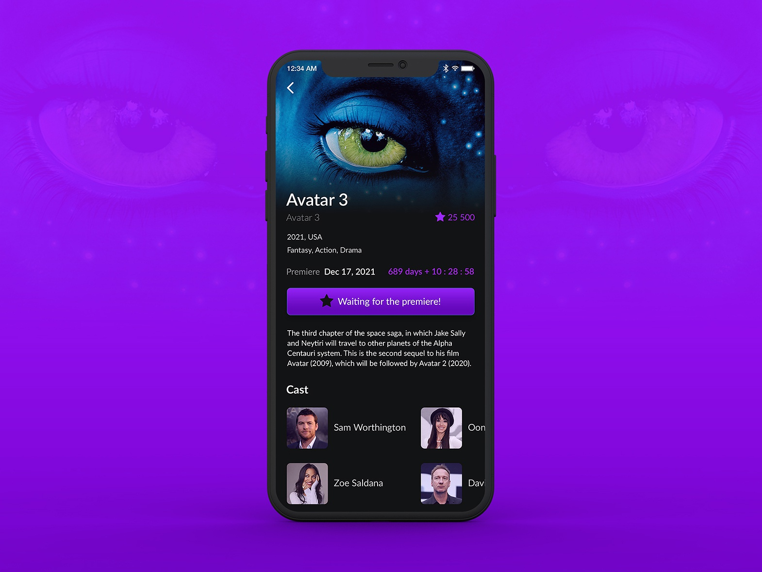 App for waiting premiere of films by Katherine on Dribbble