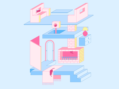 A Place for Cats graphic design vector illustration vector illustration digital illustration digital art design isometric illustration isometric design isometric room cat cats