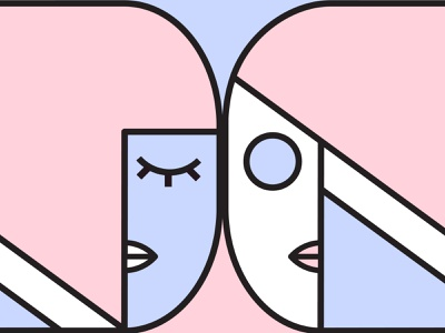 Twins abstract design abstract graphic design minimal vector illustration illustration vector design digital art digital illustration faces twins