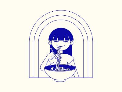 Ramen for Dinner illustrator vector digital art vector illustration digital illustration illustration design food asian asian food asian girl girl ramen