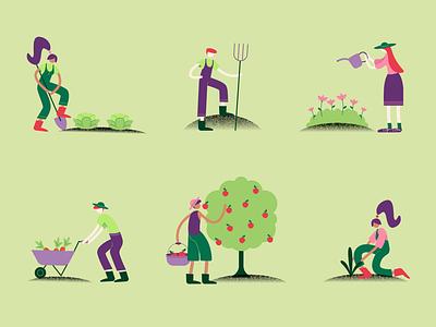 Growers & Farmers plants gardening animals fruit produce farm vegetables farmer grower agriculture farming illustrator digital art vector illustration vector illustration digital illustration design