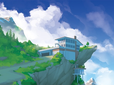 House on a Hill mountains clouds architecture digital painting illustration art