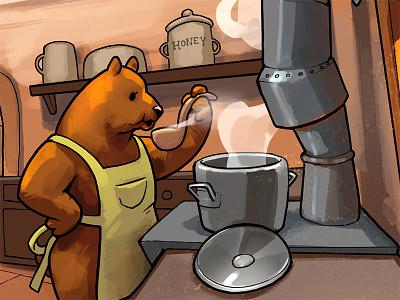 Mama Bear 3 bears three bears fairy tale childrens book story lineart goldilocks fable digital drawing illustration art