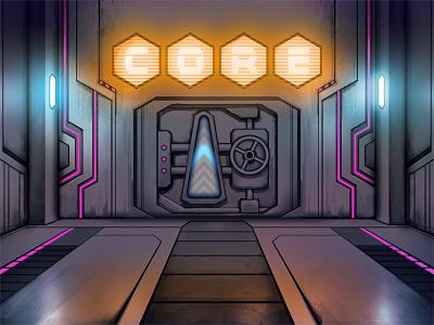 TnA CORE-i-door nuclear core vault display digital neon design outrun illustration art pinball art pinball