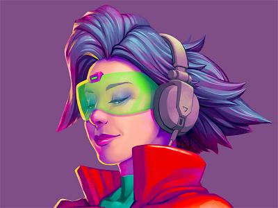Headphone Scarlet synthwave 80s headphones dj nuclear neon design outrun illustration art pinball art pinball