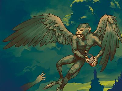 Evil Flying Monkey villain evil castle wings monkey flying fairy tale character design illustration art