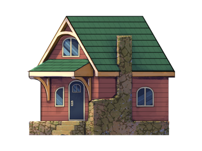 Tiny Home digital painting drawing home tiny housing house architecture design illustration art