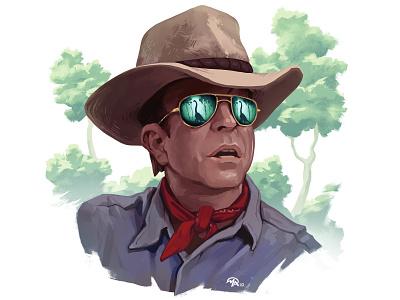 Doctober 14: Dr. Alan Grant digital painting character brontosaurus jurassic park portrait illustration art doctor