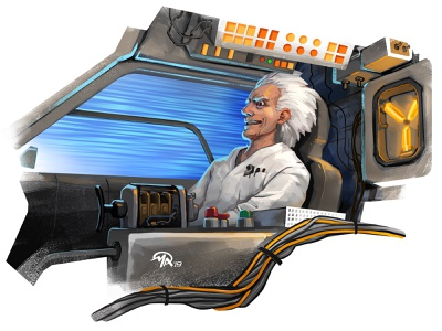 Doctober 28: Doc Brown fan art 1980s science fiction time travel delorean back to the future doc brown movies doctor character digital painting art illustration