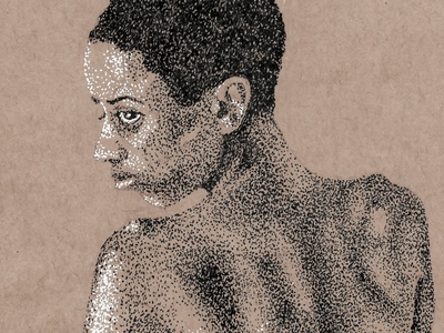Nude Woman black and white figure study drawing ink drawing pen and ink