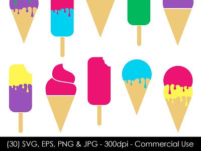 Ice Cream Vector Bundle - GJSArt svg illustration clipart design digital art vector art clip art vector ice cream