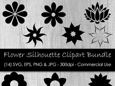 Flower Clipart Cover icon vector digital art clipart flower silhouette flower illustration svg flower