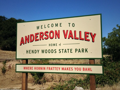 Anderson Valley Welcome Road Sign welcome road sign