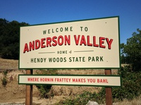 Anderson Valley Welcome Road Sign