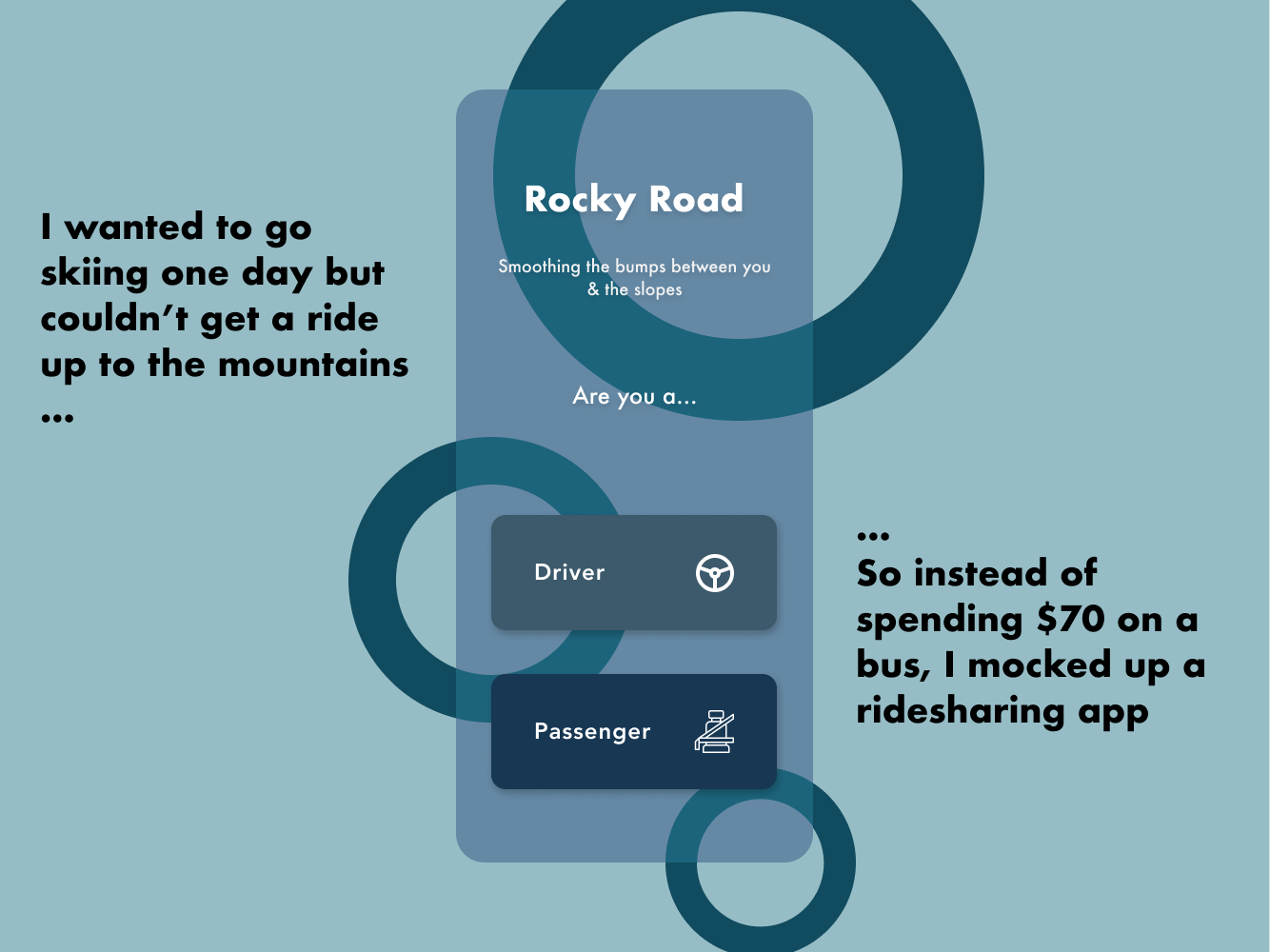 Rocky Road - Ski/Snowboard Ridesharing App Concept iphone x mobile app bus mountains outdoors snowboarding skiing car ride-sharing ridesharing rideshare ride lyft uber