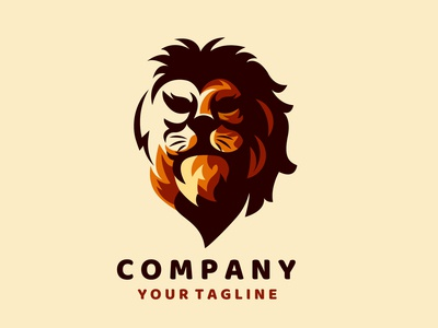 Amazing Lion face mascot logo