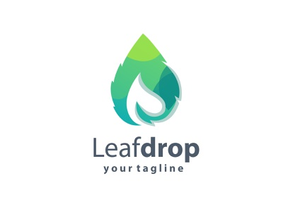 Leaf drop logo design cute logo vector logodesign design abstract illustration