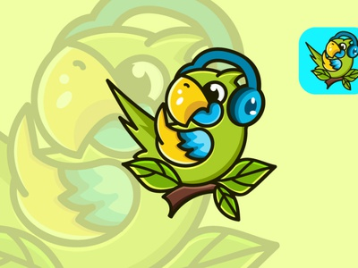 Parrot cute bird character abstract logo cartoon logodesign design vector illustration