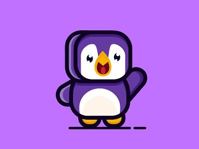 Cube penguin illustration penguin cute branding character flat logo cartoon logodesign design vector abstract illustration