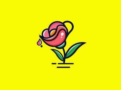 Rose cup illustartion branding character cartoon logo logodesign design vector abstract illustration