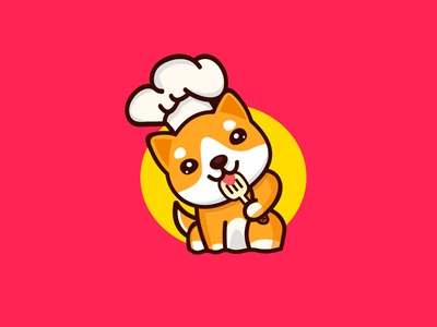 Cute doggy chef drawing dog cute cartoon logo logodesign design vector abstract illustration