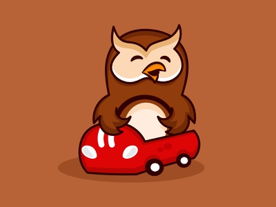 Cute owl driver cartoon logo owls cute owl logodesign design vector abstract illustration