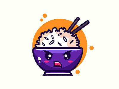 Cute rice bowl illustration bowl flat cartoon logo logodesign design vector abstract illustration