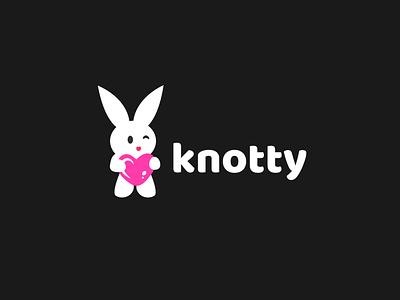 Heart with bunny cartoon logo branding character flat cartoon logo logodesign design vector abstract illustration