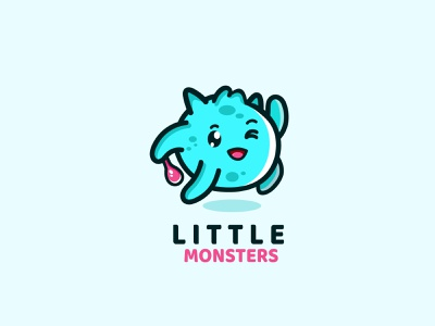 Little cute monster jumping monster cute vector cartoon logo logodesign design abstract illustration branding