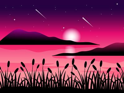 Moonlight night landscape moonlight night landscape vector design abstract illustration