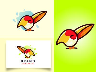 Art Brush Bird Logo brush painting bird branding logodesign flat cartoon logo vector design illustration abstract