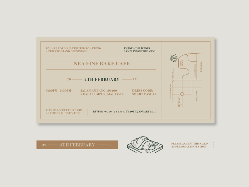 Nea Fine Bake Cafe Invitation Card invitation card lettering type vector cafe logo logo typography design illustration branding