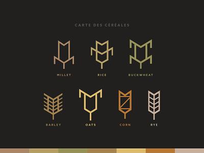 Carte des céréales brand identity minimal geometric flat illustration design vector illustrator adobe illustrator