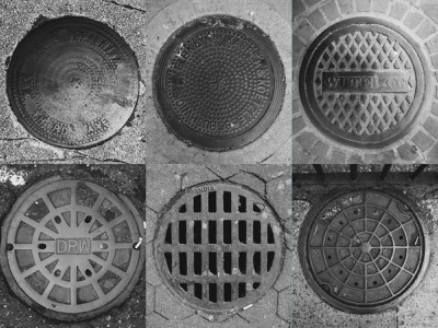 Sewer Covers or Dimension Portals? photoshop metal scavenger moodboard inspiration geometric texture city urban photography