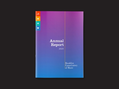 Annual Report 2020 for Brooklyn Conservatory of Music annual report design color palette brand identity layout design print design publication design adobe illustrator adobe photoshop adobe indesign