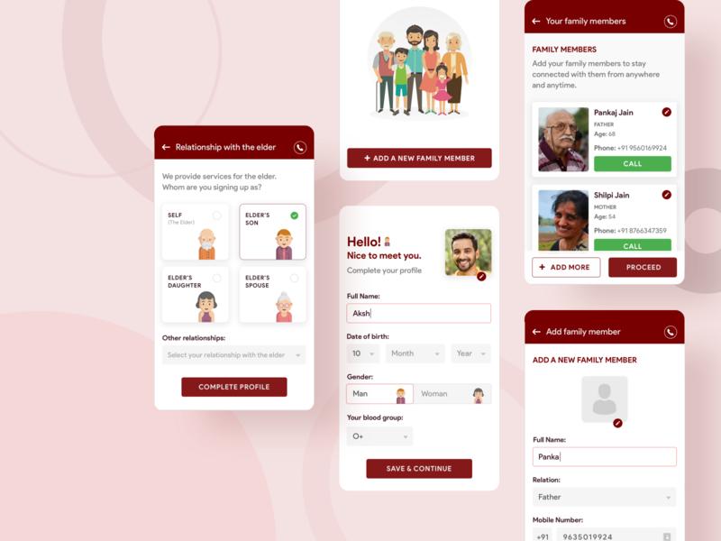 Emoha - Onboarding Screens aged help care elderly elder sketch illustration design app android ui appui mobile app design clean