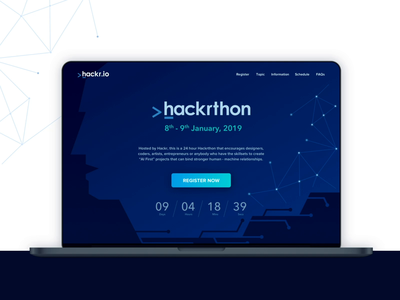 Hackrthon Webpage Design clean ui futuristic ui ai illustration hackathon development coding registration register contest desktop ui dark ui dark theme webpage website
