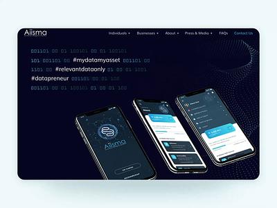 Aiisma Website Design webdesign modern datasharing data ai lowpoly blue technology web website design website design ui clean